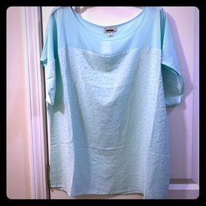 NWT sea foam blouse with gold studs